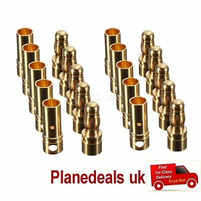 10 pairs 3.5mm GOLD BULLET CONNECTORS  rc 1st Class Post S5