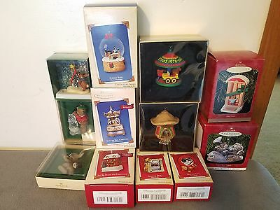 Lot of 12 Various HALLMARK Christmas Ornaments ALL IN BOXES 1978 2003 2004