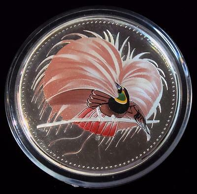 Papua New Guinea : 1994 25 Kina, Bird of Paradise Proof Silver Coin.