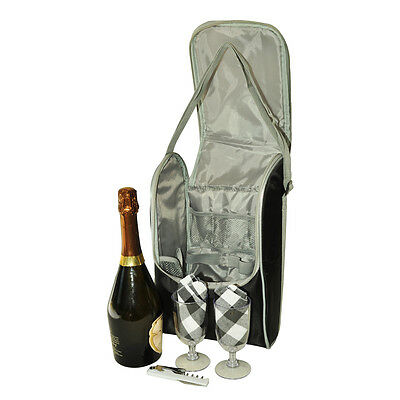 Insulated Wine Picnic Bag for 2 pax | Incl. Accessories | Wine cooler bag |Black