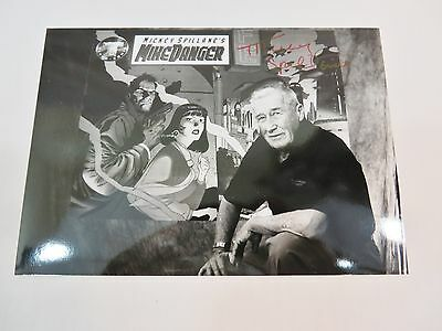Mickey Spillane Autographed Photo  5 X 7  Black And White Mike Hammer Writer