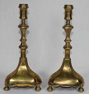 RARE Large PAIR 17th c. Brass Candle Holders Flemish/Dutch/Italian/England