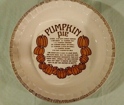 Royal China Co County Harvest Pumpkin pie plate oven safe