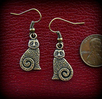 Kitty CAT KITTEN EARRINGS Jewelry - Indian Style - Art Deco Retro look