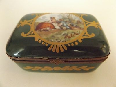 Antique Porcelain Hand Painted France Serves Mark Trinket Box