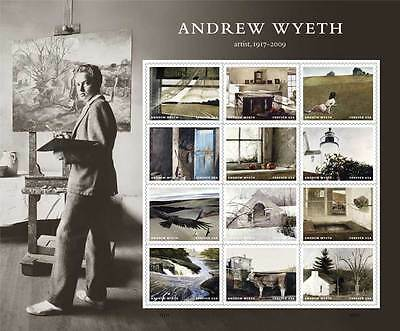 Usa Mnh Andrew Wyeth Full Pane Of 12 Forever Stamps After July 19 2017 New!