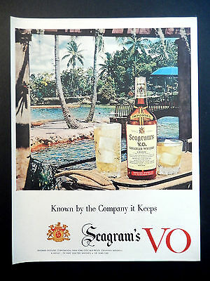 Vintage 1954 Seagram's V O Canadian Whisky Whiskey advertisement print ad art