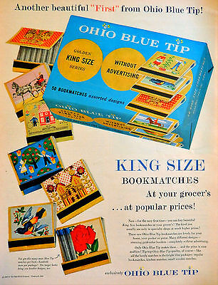 Vintage 1956 Ohio Blue Tip matches advertisement print ad art