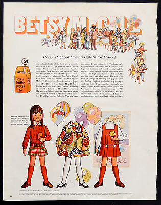 Vintage 1969 Betsy McCall Unicef Trick or Treat original advertisement print ad