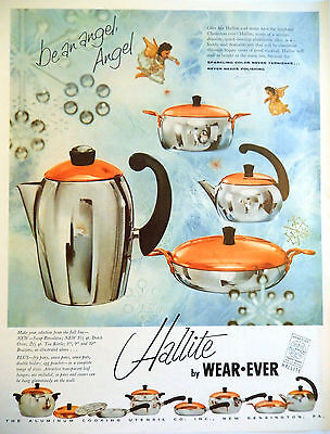 Vtg 1956 Hallite wear ever copper top pan Christmas advertisement print ad art