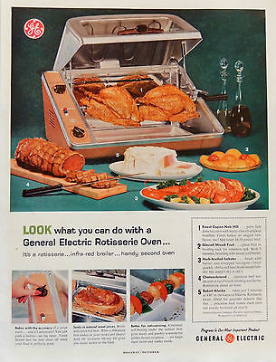 Vintage 1959 GE General Electric Rotisserie Oven advertisement print ad.