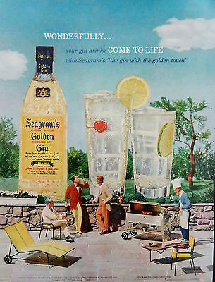 Vintage Retro 1957 Seagram's Golden Gin advertisement print ad