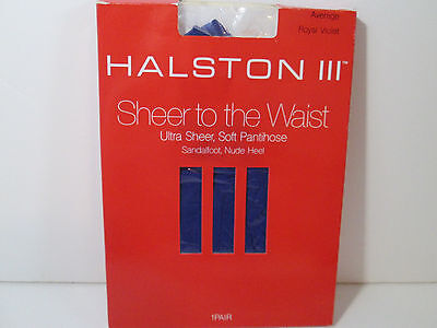 Halston III Sheer to the Waist Pantyhose Royal Violet Size Average New