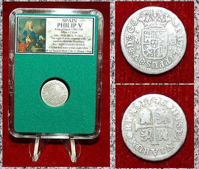 Coin Spain PHILIP V Coat Of Arms THE BOURBONS Castle Lion SILVER 1/2 REAL