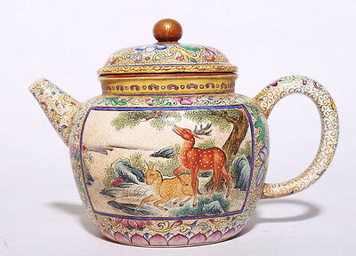 Rare Old Chinese Hand Painted Deers ZiSha Pottery Teapot Marked YongZheng PT100