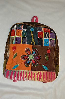 PATCHWORK Hobo BACKPACK Embroidered FLOWERS Girls PINK BACK Retro Hippy