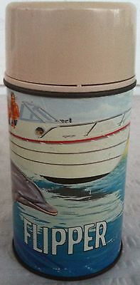VINTAGE 1966 Aladdin Industries FLIPPER Classic TV Dolphin Metal Thermos Bottle!
