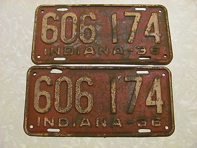 pair 1936 INDIANA LICENSE PLATE  original paint FREE SHIPPING