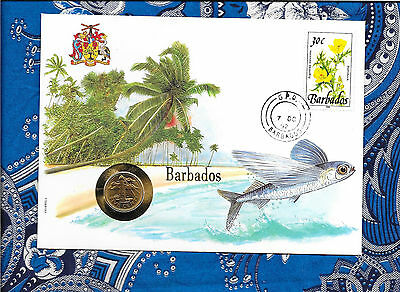 E Coins of All Nations Barbados 5 cents 1991 UNC