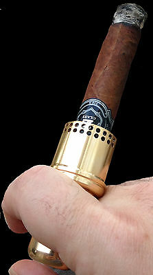 Cigar Holder/ Mouthpiece by Cigar Cannon in Goldtone CNC Machined & Engraved,
