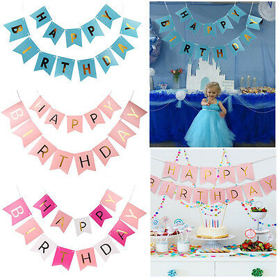 Fashion Happy Birthday Bunting Banner Gold Letters Hanging Garlands Party Decor