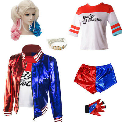 Suicide Squad Cosplay Costume Harley Quinn Jacket T shirt Shorts Set Lot