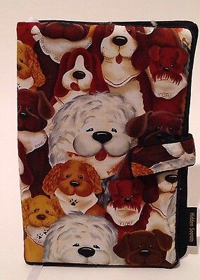 Fabric Book Cover Dog Faces Different Breeds Whimsical HIDDEN SECRETS 6 x 9