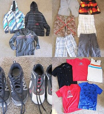 18 pc Boys Clothing/Shoes Lot with Shirts Pants Shorts Jackets Shoes Sz 10-12
