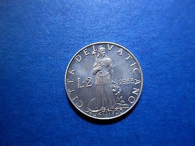 Vatican 2 Lire 1953 Uncirculated Pope Pius XII (99 cents shipping)