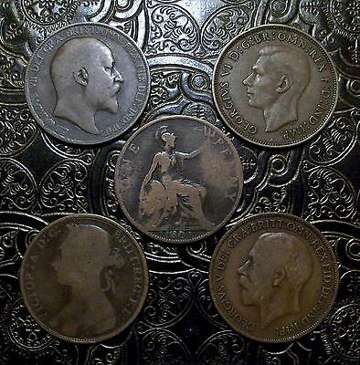 GREAT BRITAIN ~ Lot ( of 5 ) Large Penny ~ different types *** FREE SHIPPING ***