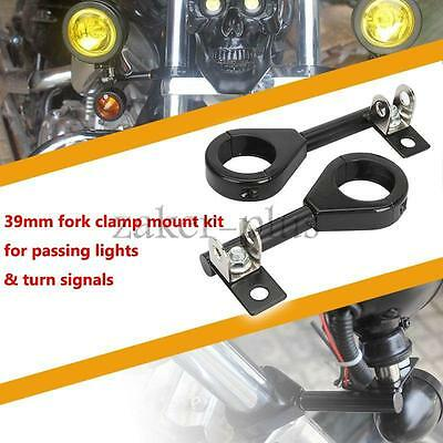 2 x 39mm Motorcycle Relocation Light Clamps Front Fork Mounts Brackets For Honda