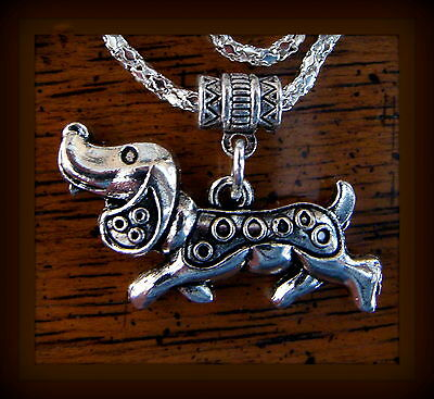 DACHSHUND Pup Dog Necklace Jewelry - Art Deco Style - Weiner Sausage Puppy