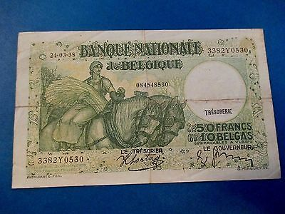 Belgium 50 Francs Frank 10 Belgas 1938  Lightly Circulated--99 cents shipping