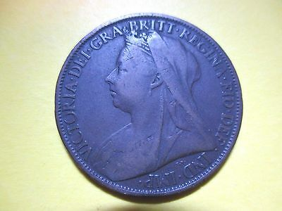 Great Britain Penny, 1900  U.K.  Better Grade (99 cents shipping)