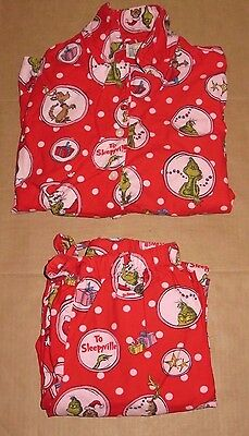 Pottery Barn PB Teen Dr. Seuss The Grinch Red Flannel Pajamas Medium NEW *READ*