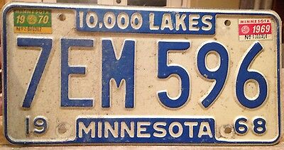 1968 68 MINNESOTA MN LICENSE PLATE WITH 1969 and 1970 tabs 7EM 596
