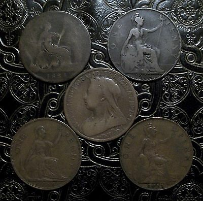 GREAT BRITAIN ~ Lot ( of 5 ) Large Penny ~All Different Types * FREE SHIPPING *