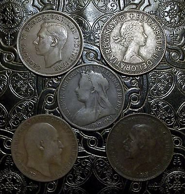 GREAT BRITAIN ~ Lot ( of 5 ) Large Pennies ~ Different Types * FREE SHIPPING *