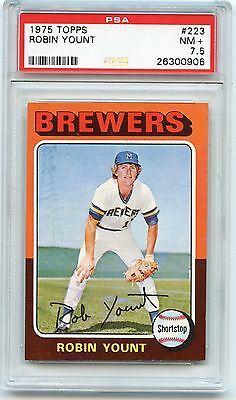 1975 Topps #223 Robin Yount Rookie Baseball Card (Rc), Brewers, Hof, Psa 7.5 Nm+