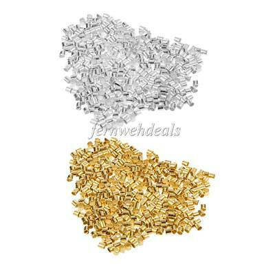 600pcs Silver/Gold Crimp Tubes Metal Beads Stopper for Jewelry Making Findings