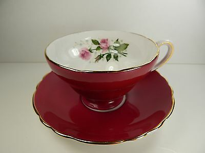 Crown Staffordshire Tea Cup and Saucer Burgundy with Pink Rose. Wide rim.