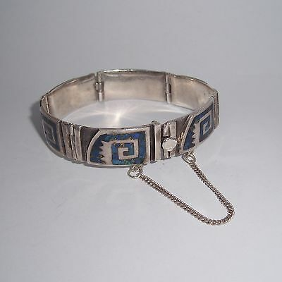 Vintage Sterling Silver Cuff Bracelet Inlay Blue Stone Signed Nechden Mexico