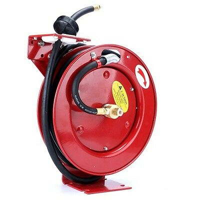 "(Blue) 8milelake 3/8"" x 25' 300 PSI Auto Retractable Air Compressor Hose Reel"