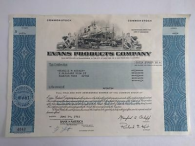 VINTAGE Engraved Stock Certificate Evans Products Company 1983 Bank of America