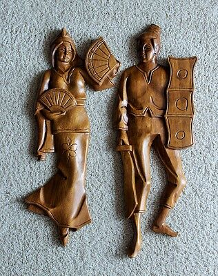 Classic Retro Decor 70's Carved Wooden Dancing Couple Wall Hanging