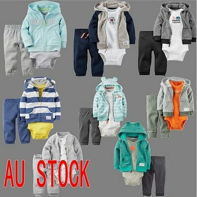 New 6-24 MONTH Hoodie Kids Baby Toddler Boy clothes 3Pcs Baby Coat+Bodysuit+Pant