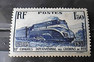 Timbre neuf FRANCE 1937 : 1f50 outremer Chemins de fer