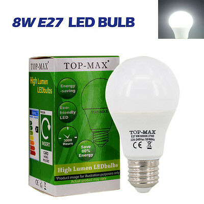 E27 Dimmable 8W LED Bulbs Cool White 2835 SMD Globe Lamp High Power Bright