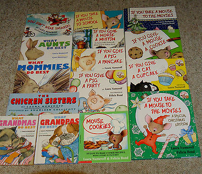 Lot of 15 - LAURA NUMEROFF Childrens Books  Pig Mouse Moose Cat RL1 HC/SC