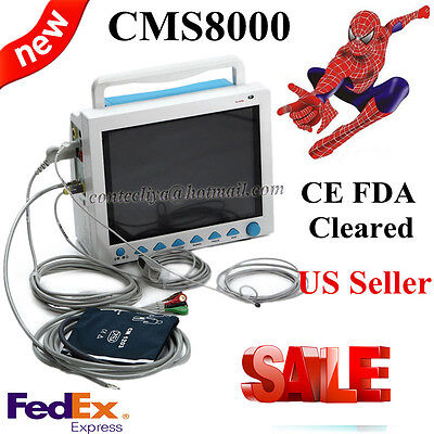 US seller!!ICU Patient Monitor 6 parameter Vital Sign ECG NIBP RESP TEMP SPO2 Pr